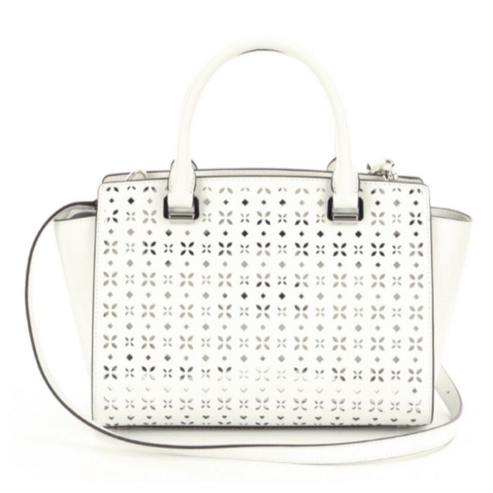 85b85a152687 ... closeout michael kors nude leather bag michael kors selma floral  perforated medium white silver leather satchel