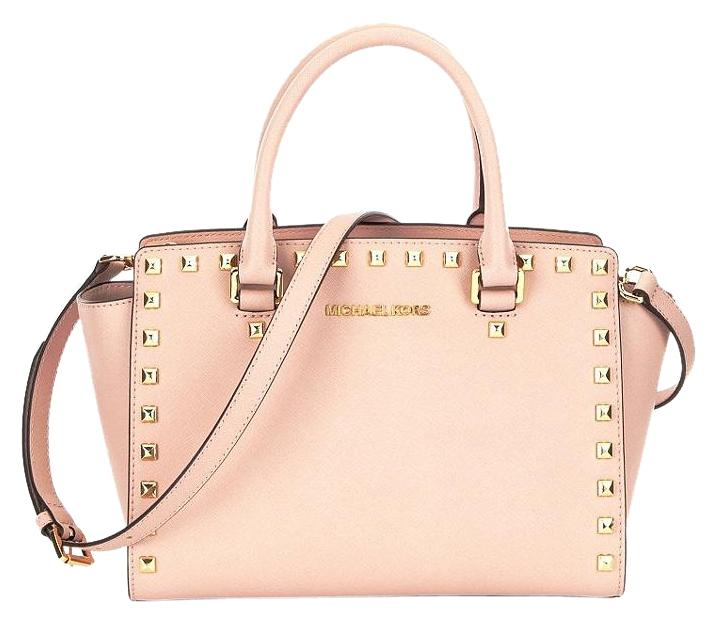 d2d3fa0140ec ireland michael kors mk luggage studded selma luggage saffiano mk satchel  in ballet light pink gold