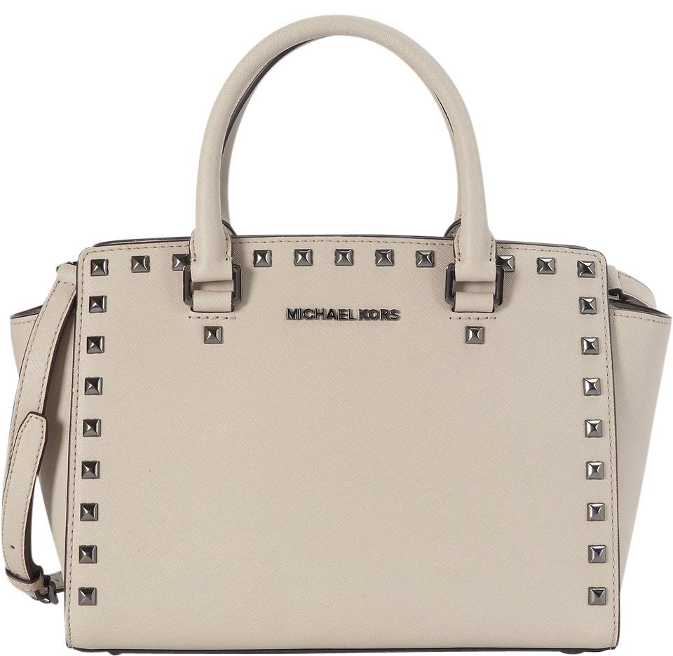 0f180b5a00f6 where to buy michael kors studded selma mk saffiano selma selma satchel in  cement light gray