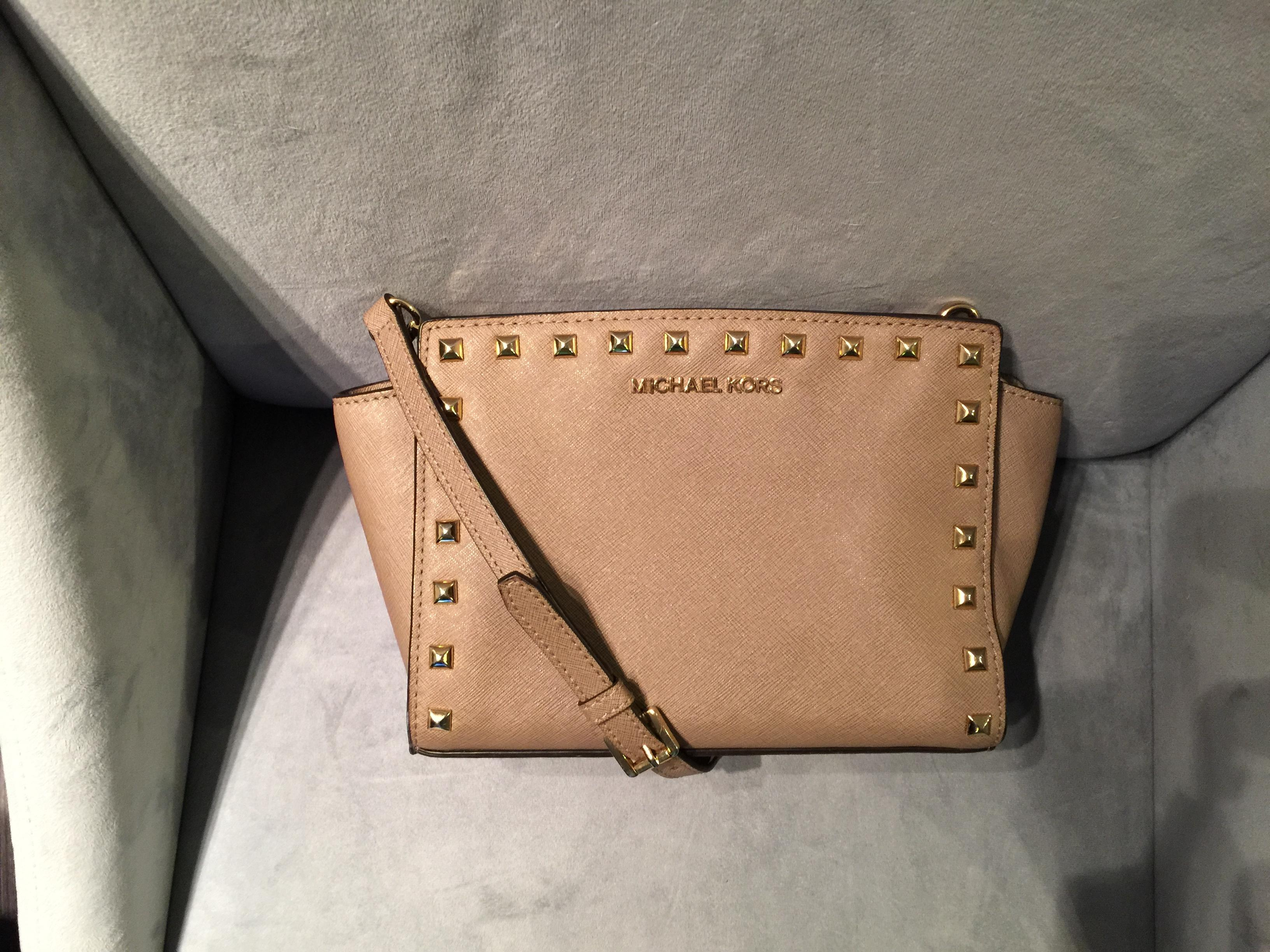 668f0fb14cc4 best michael kors selma medium studded dark dune f4962 586b2