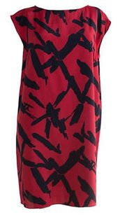 Michael Kors short dress Red Black Silk Abstract Print Layering Shift Hs1557 on Tradesy
