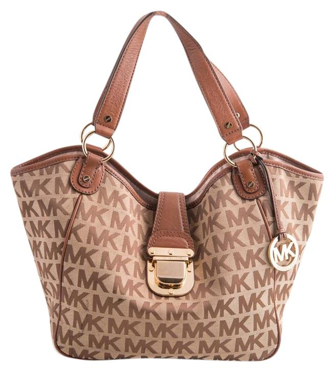 d6edfad237d8 ... hot michael kors leather canvas tote in tan 05269 e23d8 ...