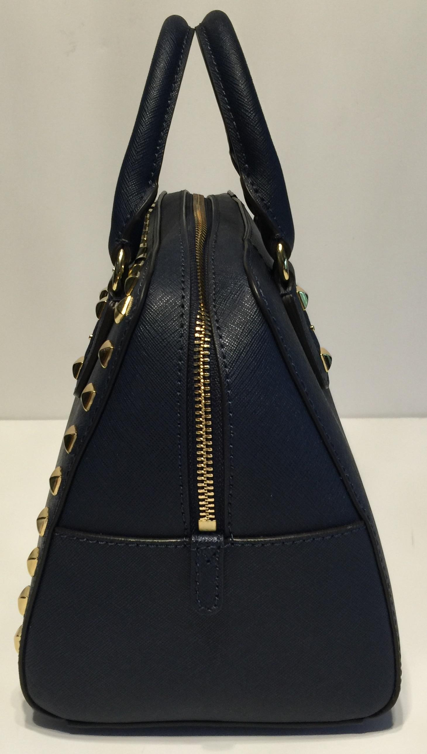 5ab86bb58b9e italy michael kors black medium grayson bag 31813 18815  canada michael kors  stud small handbag navy blue saffiano leather satchel tradesy 9b015 6e517