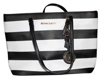 Michael Kors Stripes Tote in Black and White