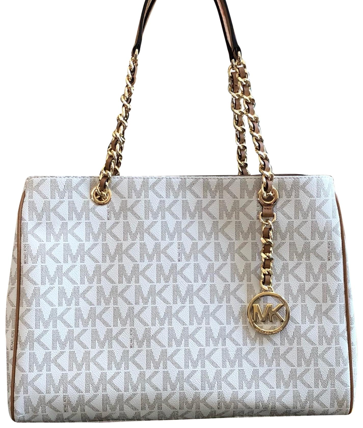 e8a338ad1e92 ... where can i buy michael kors signature monogram chain satchel floral  embroidery tote in vanilla acorn