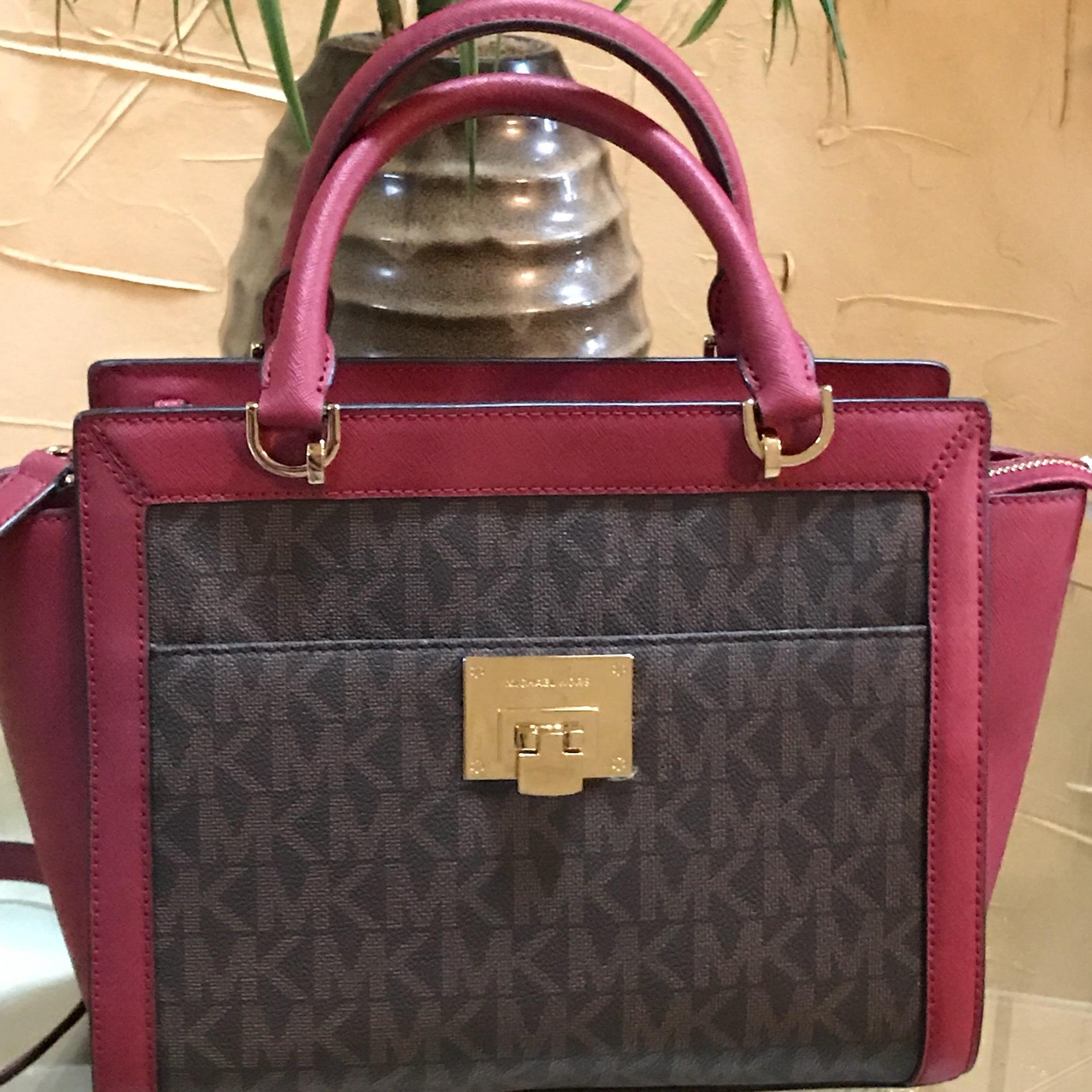 04b2b144b0cd shop michael kors tina large fulton wallet set brown cherry pvc with  saffiano leather satchel tradesy