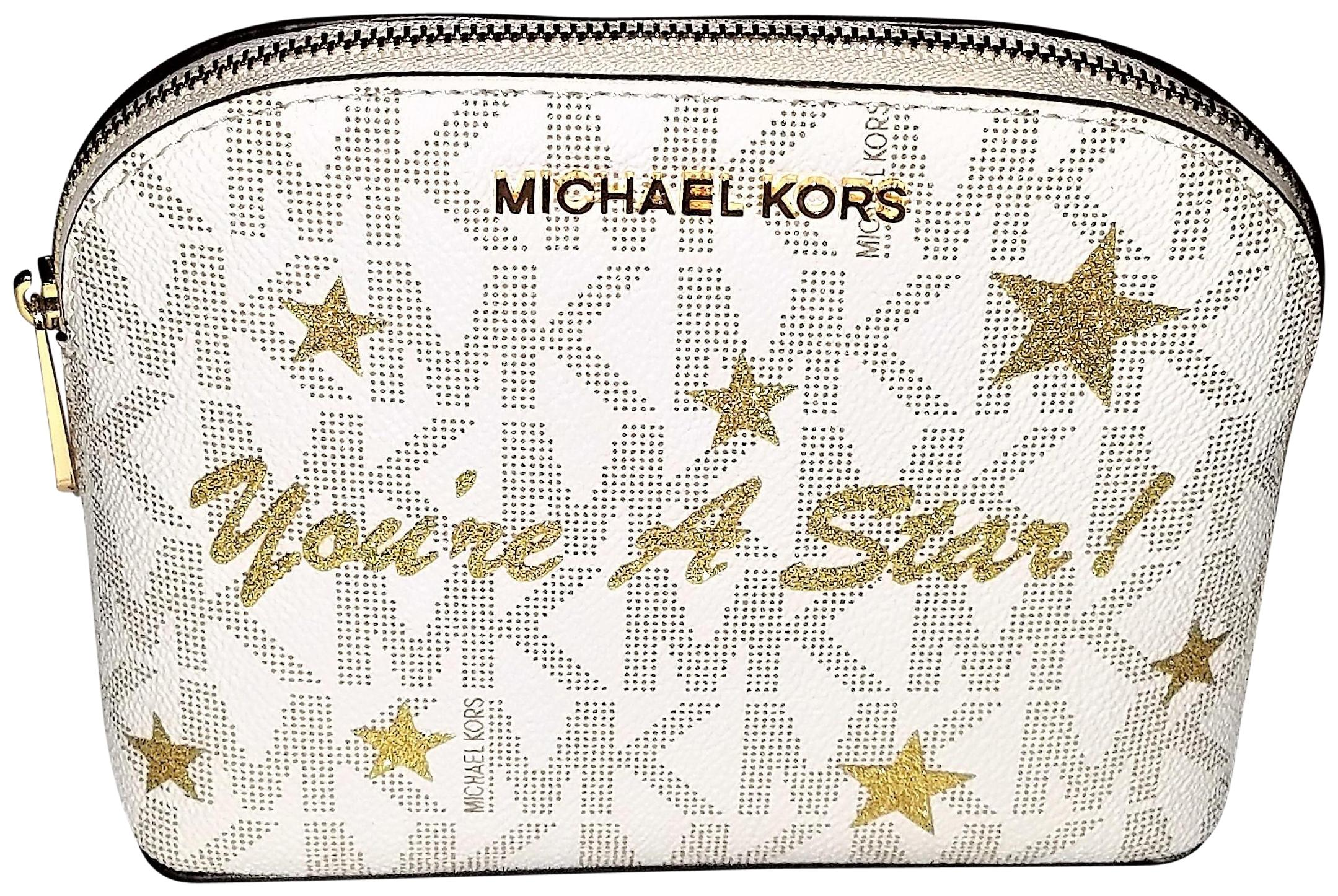 487629b0481e ... sweden michael kors new cindy travel pouch cosmetic gold star  illustration bag msrp 108 aae7f 0d324 ...