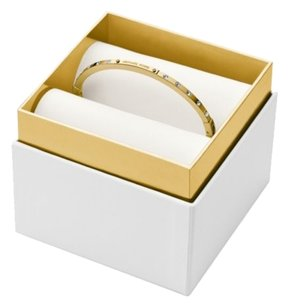 Michael Kors with Bonus-Crystal Logo Plaque Hinged Bracelet