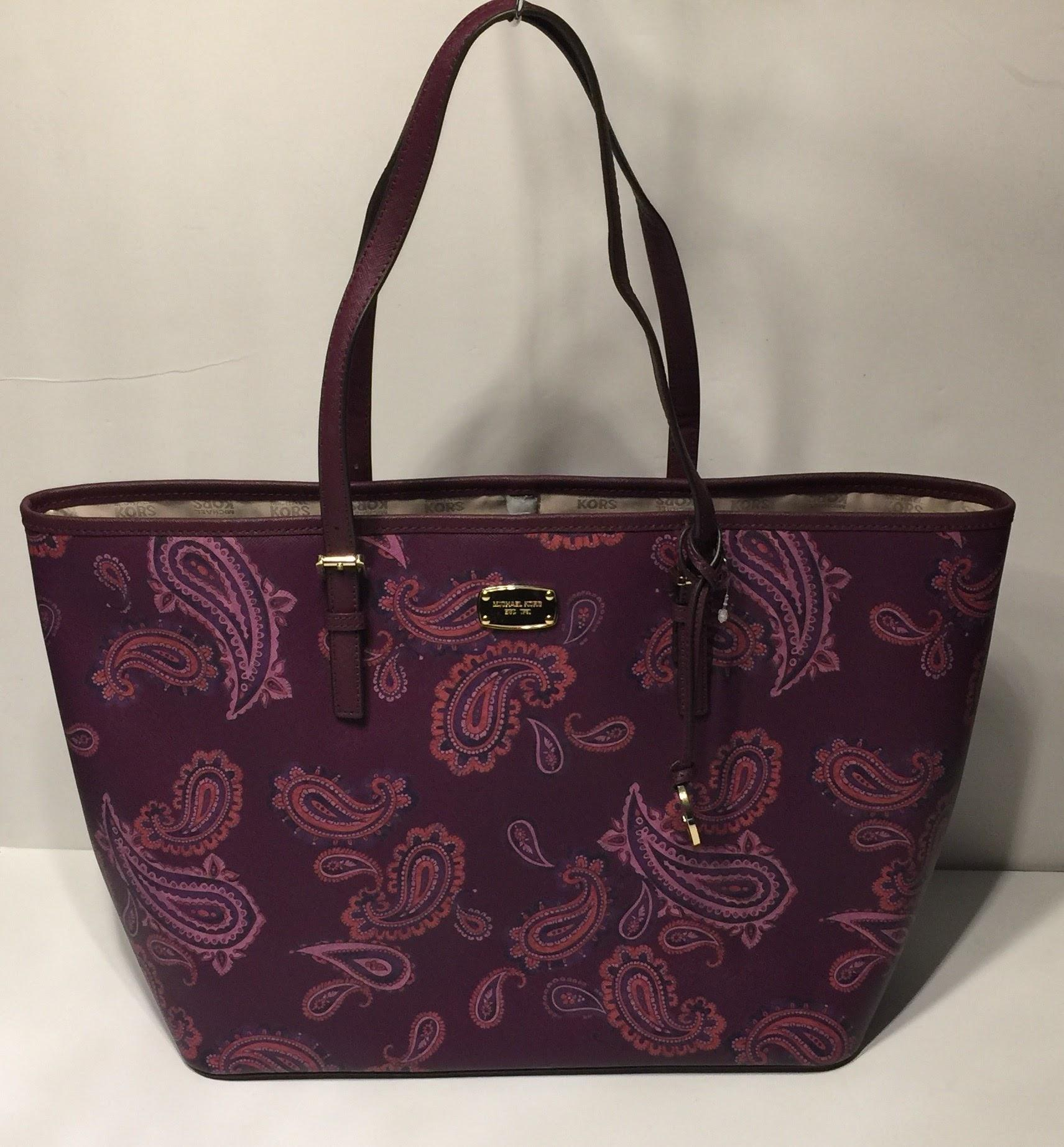 71be3608f80e ... large travel carryall tote bag paisley print plum nwt 348 39851  discount michael kors shopper purple tote in plum paisley.