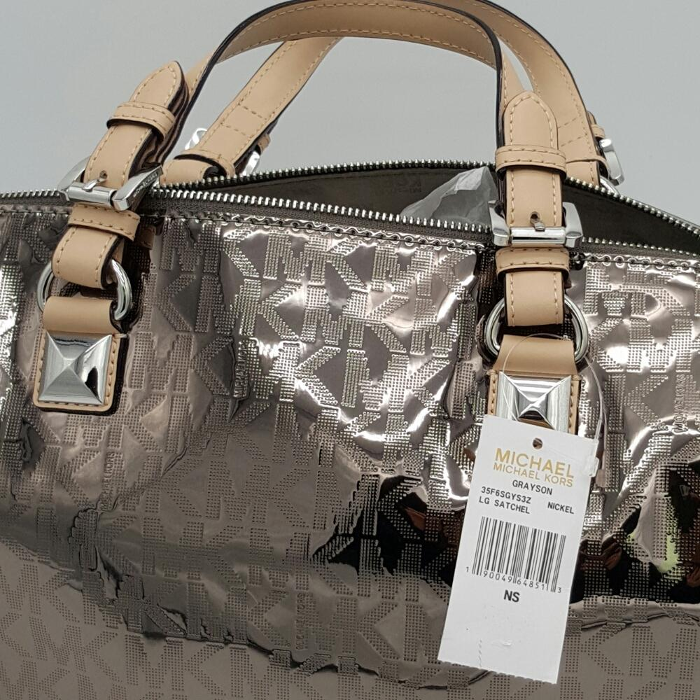 617dc95ee5ba ... promo code for michael michael kors large greyson satchelcrossboyd pvc  coated mirror satchel in nickel.