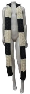 MICHAEL Michael Kors Michael Michael Kors Beige Black Striped Chunky Knit Hoodie Long Scarf 0s