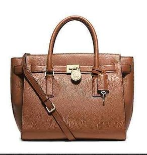 MICHAEL Michael Kors Hamilton Traveler Leather Satchel in Luggage