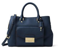 MICHAEL Michael Kors Haley Leather Satchel in Navy