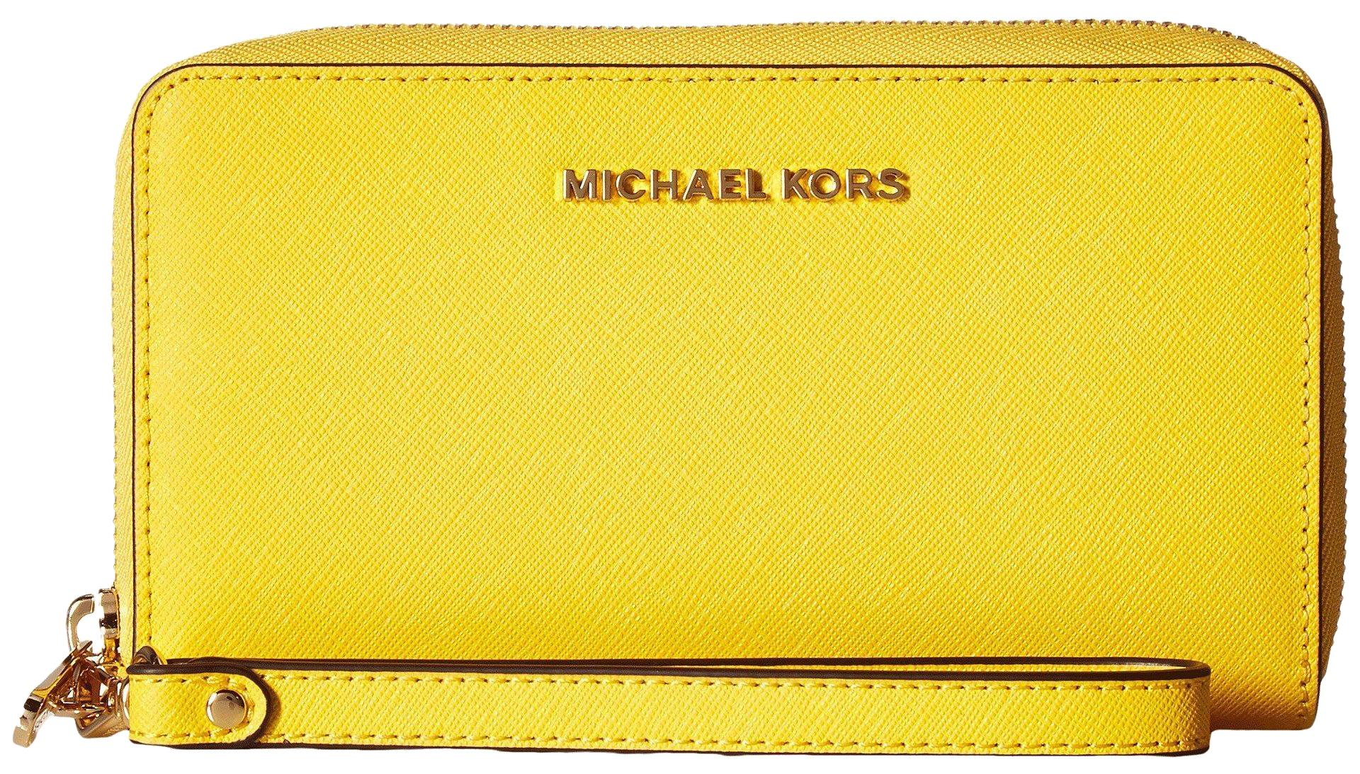 2ce525e212f6 new style michael michael kors wallet sunflower saffiano leather phone  wallet 190049151532 wristlet in sunfloweryellow 6a3ec