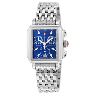 Michele Deco Blue Mother of Pearl Diamond Dial Stainless Steel Ladies Watch