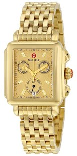 Michele Deco Gold Metallic Dial Gold-plated Steel Quartz Ladies Watch
