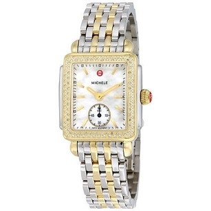 Michele Michele Deco White Mother Of Pearl Dial Yellow Gold-tone Watch