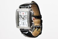 Michele Michele Stainless Steel Black Patent Leather Diamond Deco Chronograph Watch