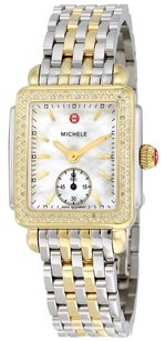 Michele MWW06000023 Deco 16 White Mother of Pearl Dial Yellow Gold-tone Watch