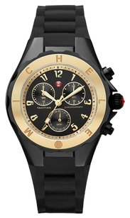 Michele MWW12F000062 Tahitian Jelly Bean Watch Large Black Silicone Gold Bezel