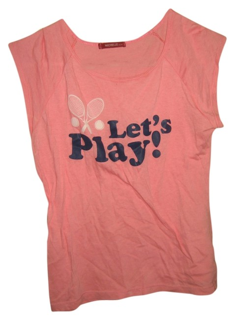 Michelle USA Let's Play Logo Tennis T Shirt pink