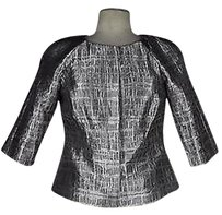 Mikael Aghal Mikael Aghal Womens Silver Brown Textured Blazer Polyester Blend Metallic