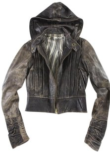 Mike & Chris Hooded Jacket Leather Coat