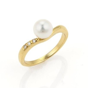 Mikimoto Mikimoto 7mm Akoya Pearls Diamonds 18k Yellow Gold Ring - 6.75