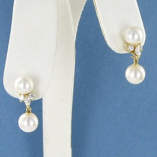 Mikimoto Mikimoto Earrings Studs W Drop 8mm Akoya Pearl 0.38cts Diamond 18k Yg