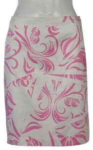MILLY Printed Knee Skirt Pink
