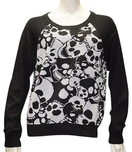 MILLY Black White Stretch Knit Skull Print Raglan Sleeve Hs343 Sweater