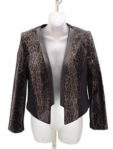 MILLY Sidney Leather Trim Greyish Brown/Black Jacket