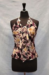 MILLY Of York Multi 100 Silk Tie Blouse Halter Purple-multi Halter Top