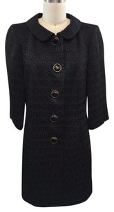 MILLY Geometric Jacquard Button Down Coat Black Jacket