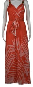 Orange Maxi Dress by MILLY Womens Printed Sleeveless Full Length Maxi
