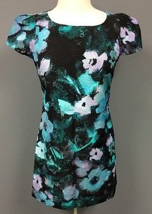 MILLY Floral Cotton Short Sleeve Lined Zip 0 945a Dress