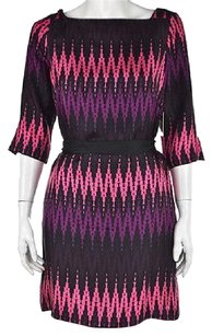 MILLY Womens Black Printed Silk Casual Above Knee Sheath Dress