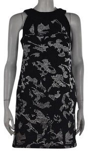 MILLY Womens Black Textured Metallic Above Knee Sheath Dress