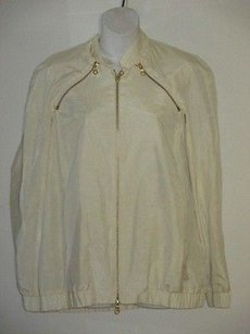 Minnie Rose Silk Zipper Removed Sleeve cream Jacket
