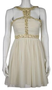Minuet Petite Womens Ivory Dress