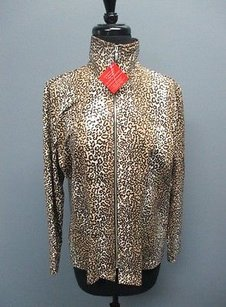 Misook Exclusively Animal Print Polyester Blend Zip Front 914 Multi-Color Jacket