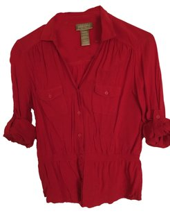 Miss Tina Button Down Shirt Red