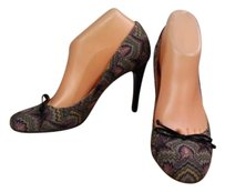 Missoni Womens Embroidered Patent Heel Bow Detail Gray Pumps