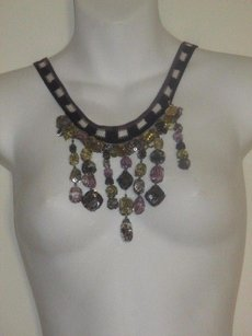 Missoni Missoni Puprle Black Knit Sequin Tassel Tie Necklace