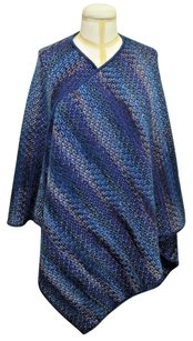 Missoni Missoni Blue Multi-color Wool Blend Over-sized Knit Wrap