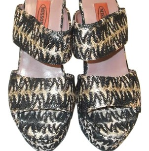 Missoni Print Leather Wedge Platform BLACK TAN GOLDEN MULTI ZIG ZAG Platforms