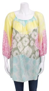 Missoni Tie Dye Print Silk Pastel Boho Cover Up Dress Shirt Blouse 382 Tunic