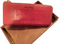 Miu Miu Authentic Miu Miu Long Zippers Pink Wallet