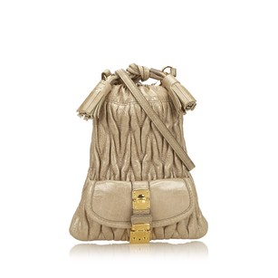 Miu Miu Beige Brown Leather 6jmmsh002 Shoulder Bag