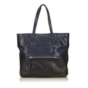 Miu Miu Black Blue Leather Tote